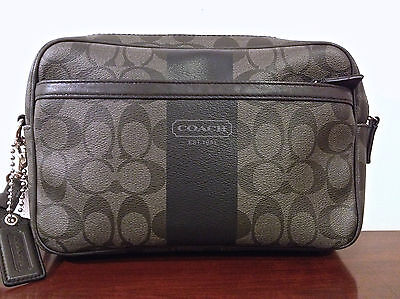 COACH MENS HERITAGE SIGN STRIPE TRAVEL CASE COATED CANVAS 77277 NWT $248 GRAY