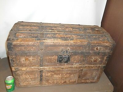 """Antique  / Vintage  Wood with metal  Dome Top Steamer Trunk 30"""" x 17""""x 21"""""""