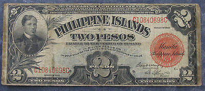 1929 Philippines 2 Two Pesos Treasury Certificate Note; Red Seal
