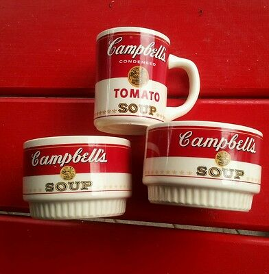Campbell's Tomato Soup cup and 2 Soup Bowls