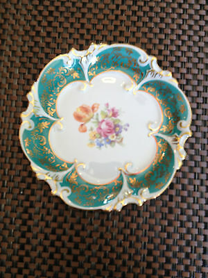 Jlmenau Rare Turquoise Plate with  floral bouquet center ** Great Holiday Gift *