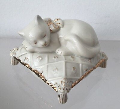 """LENOX """"Dreaming Away"""" Cat on a Pillow Figurine Handpainted Gold Tone Details"""
