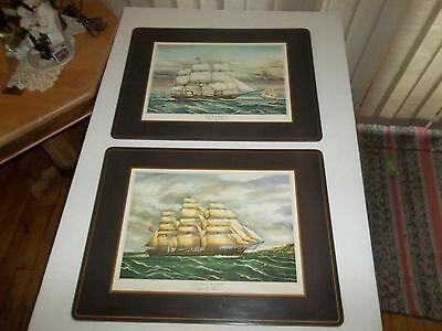 INCREDIBLE VINTAGE NAUTICAL LITHOGRAPH PLACEMATS (2) CORK BACKS SHIPS CLIPPERS