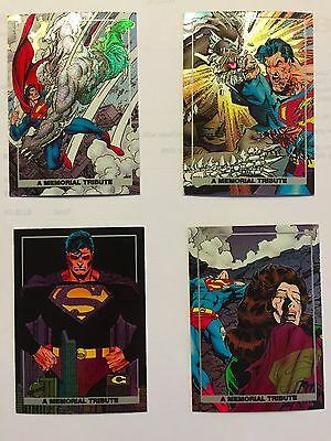 SKYBOX 1992 SUPERMAN DOOMSDAY MEMORIAL TRIBUTE FOIL SET OF (4) CARDS #S1 TO 4