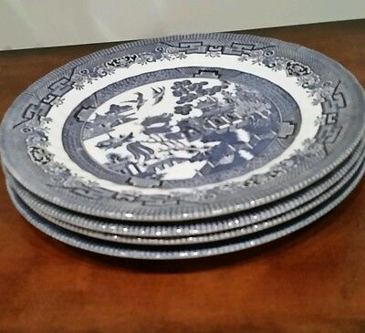BRAND NEW!  BLUE WILLOW QUEEN'S FINE EARTHENWARE 4 BEAUTIFUL DINNER PLATES