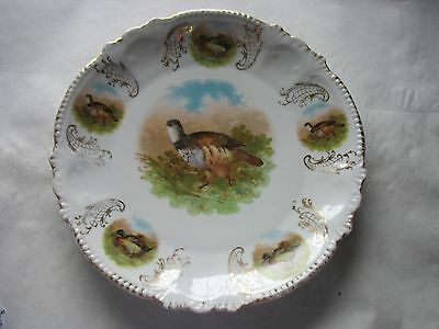 "Handpainted and transferware  Wild Game Bird quail Collectors 10"" Plate"