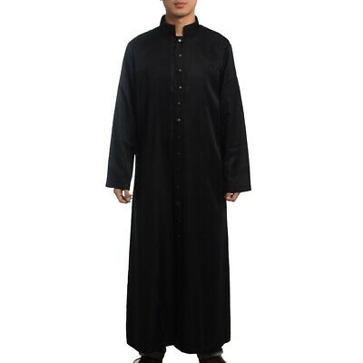 Roman/Orthodox Clergy Black Collared Robe Gown Single Breasted Button Vestments
