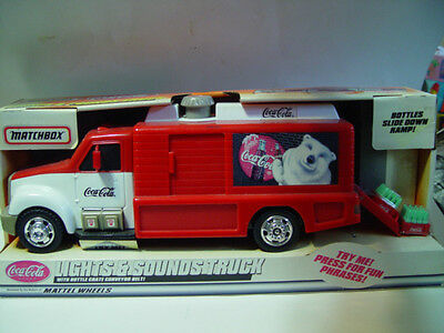 "Matchbox Coca Cola Lights & Sounds Truck 13"" Long x 6"" Tall Christmas Polar Bear"