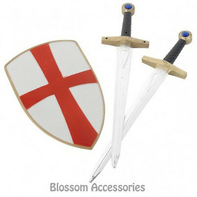 A475 Kids Boys Knight Crusader Set w/ Two Swords Shield 50cm Weapon Accessory