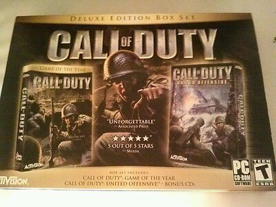 Call of Duty Deluxe (PC, 2005) Box Set  & Expansion Pack -WW II Action Game NEW