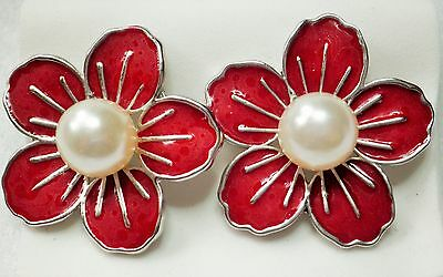 Large Dark Red Enamel Effect & Faux Pearl Silver Tone Stud Earrings - 3cm