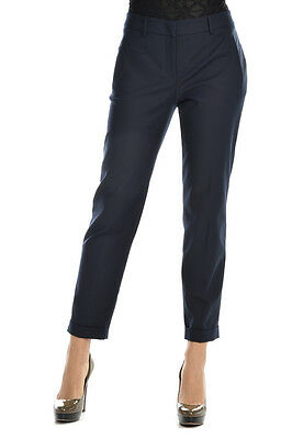 BLUMARINE New Woman BLUE Pleated Trousers Pants Size 46 Ita $ 584 MADE IN ITALY