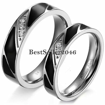 Stainless Steel Black Enamel with CZ Stones Couple Wedding Band Mens Ladies Ring