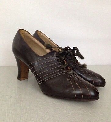 NOS Deadstock 40s Brown Leather Lace Up Oxford High Heel Shoes Swing Era 6.5