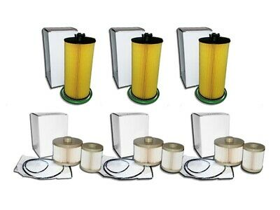 6.0L Turbo Diesel 3 Oil Filters & 3 Fuel Filter Combo Kit For Ford E Series Only