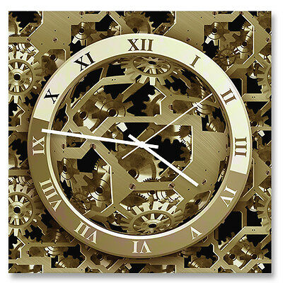 "30cm square ""gears"" acrylic wall clock with metal hands"