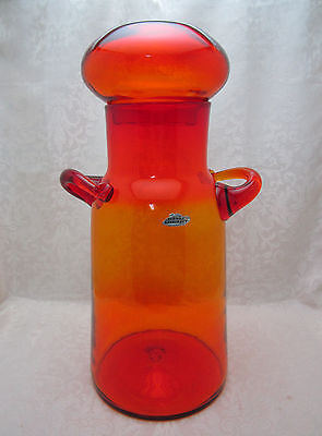 BLENKO 7327 Handled Dome Lidded Jar - Tangerine - Milk Jug - NICKERSON 1970 -74