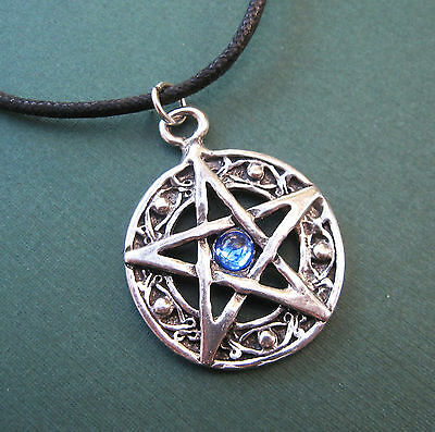 "Protected Life Pentagram 1"" Amulet Pewter Pendant Necklace Wicca Pentacle - Blue"