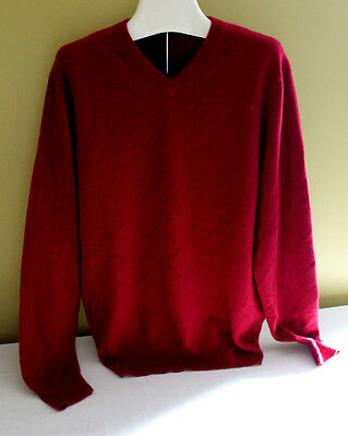 NWT Daniel Bishop 100% Cashmere Men's V-Neck Luxurious Red Sweater M $240