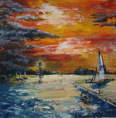 painting seascape boat acrylic original deco  streched canvas under