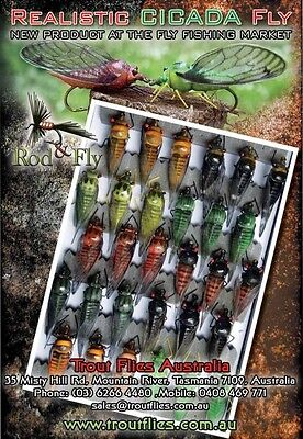 Cicada Bass Fly Fishing Flies 5 mixed colours