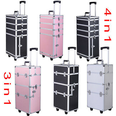 Cosmetic Case Makeup Nail Case Vanity Hairdressing Beauty Box Trolley 3/4 in 1