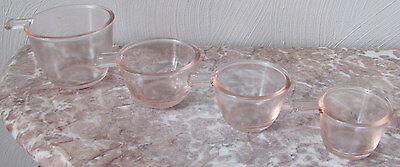 Depression Pink Glass 4 Piece Stackable Measuring Cups
