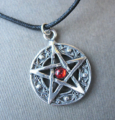 "Protected Life Pentagram 1"" Amulet Pewter Pendant Necklace Wicca Pentacle Red"