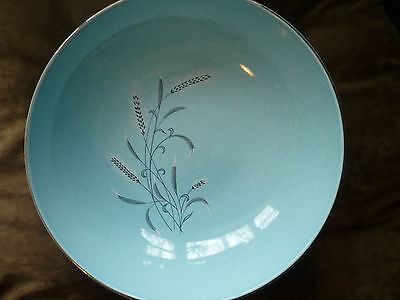 Vintage Large Serving Bowl  White Wheat on Robin Egg  Taylor Smith Taylor  China