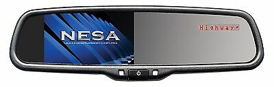 """Rear View Mirror with 4.3"""" Reverse Monitor and Radar Detector Display"""