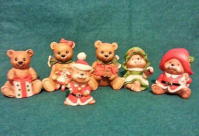 Homco 6 Christmas Bears with Christmas gifts.