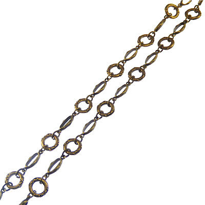 90cm Vintage Bronze Tone Brass Flower Lace Ring Necklace Link Chain Hot 04073