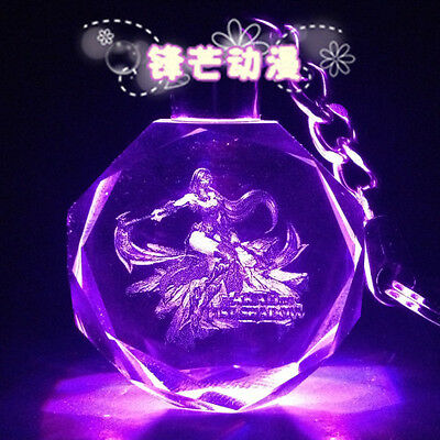 HOT!League Of Legends LED Multicolor Octagon Crystal key chain All-Star-Akali
