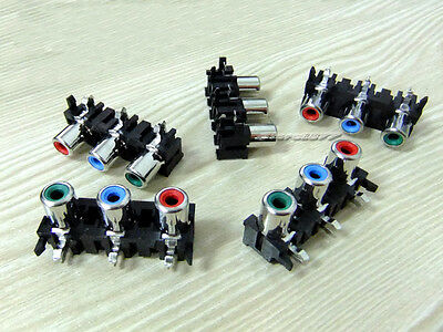 5pcs New RCA 3 Female Pin Video Socket Connector Hole Pitch 15mm RGB s594