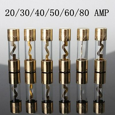 1x AGU Gold Plated Glass Fuses 20A 30A 40A 50A 60A 80AMP Current Sound System