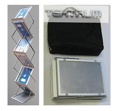 Tektrum Metal Literature Stand, Pop-up Magazine Rack, For Trade Show (6 Pockets)