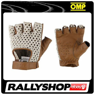 Classic driving gloves OMP TAZIO Vintage Leather Brown Ecru smooth leather