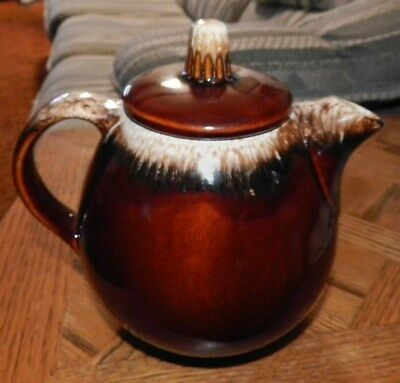 Vintage Hull Brown Drip Style Teapot w/ Lid  Glazed Oven Proof USA Approx 7""