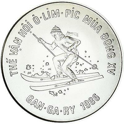 "Vietnam ""Oly. Winterspiele Calgary - Skilanglauf"" 100 Dong 1986 - Silber stgl."