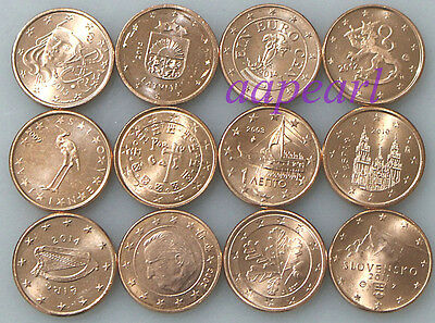 EU 12 countries different Coins rare Collections Uncirculated 12pcs