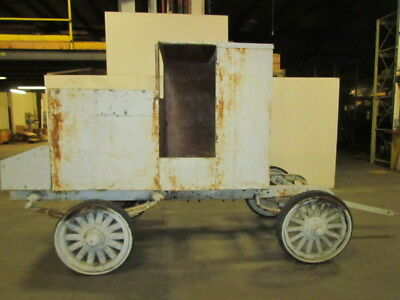 Vintage Antique Wooden Wheel Wagon Carriage On Early 1900 Car or Truck Frame