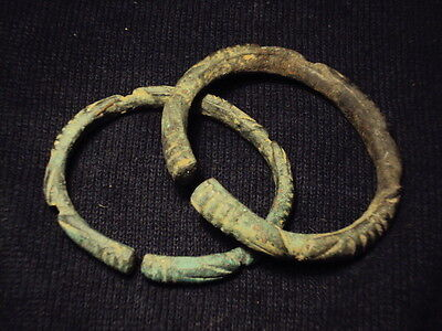 Ancient Bronze Pair Of Braceletes Islamic 1200 AD