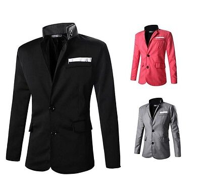 Mens Blazer Style Chinese Tunic Suit Stand Collar Stylish Coat PK84 Fast Ship