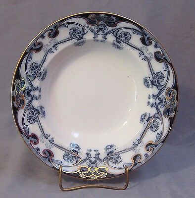 ROYAL STAFFORDSHIRE BURSLEM GOLD TRIMMED SOUP BOWL IN IRIS PATTERN