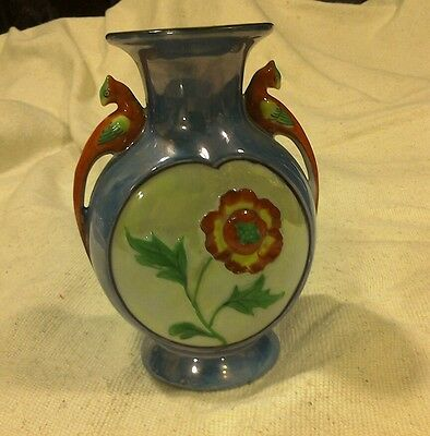 2 Bird Handled Vase Hand Painted Floral Hand Painted in Japan