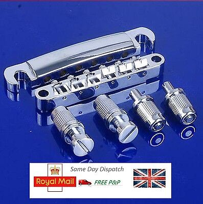 Chrome Guitar Tune-O-matic Bridge Tailpiece Tail For Les Paul LP Style Set UK