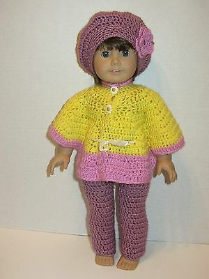 """HANDMADE CLOTHING 3 PC Set Outfit FITS 18"""" AMERICAN GIRL DOLLS Knit Crochet"""