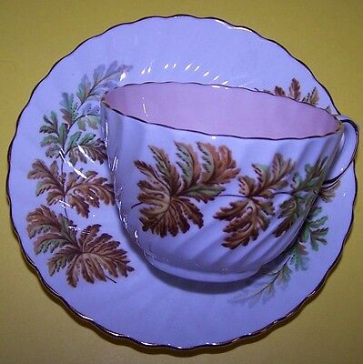 """AYNSLEY FLORAL CUP AND SAUCER IN THE OAK LEAF """"SWIRL"""" PATTERN"""