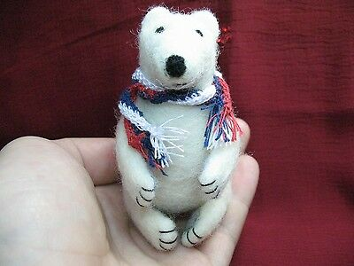 """OOAK Artist Needle FELTED """"White Bear with  scarf"""" handmade in love #i034"""
