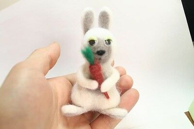"""One Of a Kind Artist Needle FELTED small """"Rabbit """" handmade with love  #i004"""
